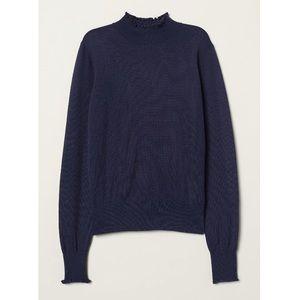 Mock Turtleneck Sweater in dark blue